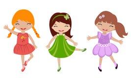 Three cute little girls dancing. A illustration of three cute little girls dancing stock illustration