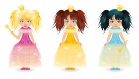 Three cute little princess Stock Image