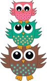 Three cute owls Royalty Free Stock Photos