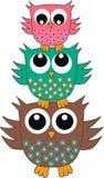 Three cute owls stock illustration
