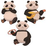 Three cute pandas playing musical instruments. Isolates on a white background. Vector graphics royalty free illustration