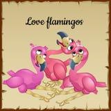 Three cute pink flamingos Royalty Free Stock Photos