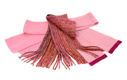 Three cute pink winter scarves nicely arranged. Stock Images