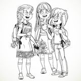 Three cute schoolgirl with a schoolbag socialize linear drawing Stock Image