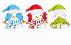 Three cute snowmen. Design with three cute snowmen Stock Image