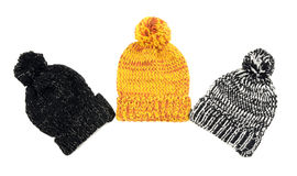Three cute winter hats. Stock Photo