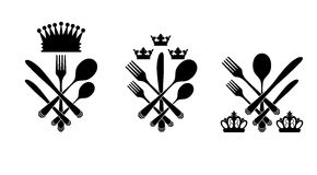 Three cutlery set with crowns Stock Photos