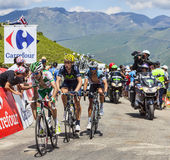 Three Cyclists on Col de Val Louron Azet Stock Photography
