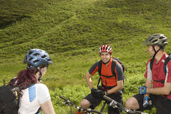 Three Cyclists In Countryside Royalty Free Stock Images