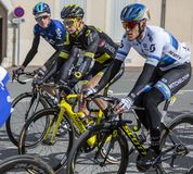 Three Cyclists - Paris-Nice 2019 royalty free stock photography