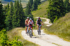 Three cyclists riding mountain bike in sunny day on a mountain road, Romania. Rodna Mountains, Romania, 05 July 2015: Three cyclists riding mountain bike in Stock Images