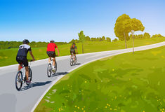 Three cyclists Royalty Free Stock Images