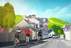 Three cyclists. Riding on road. Summer town sunny landscape Royalty Free Stock Photos