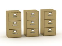 Three 3D Archive Cabinets Stock Photography