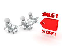 Three 3D Characters running and pushing shopping cart towards pr Stock Photo