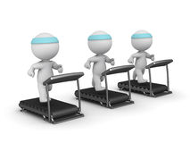 Three 3D Characters Running on Treadmills Stock Image