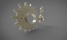 Three 3D cogs yellow big cog on grey gray background Stock Images