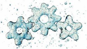 Three 3d gears made of water. 3d illustration, isolated on white background. 4K stock video
