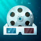 Three d glasses and film reel. 3D glasses for film, excellent vector illustration, EPS 10 Stock Image