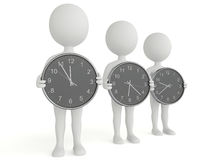 Three 3d humanoid character hold a clock Stock Photo