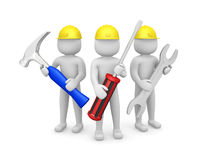 Three 3d man - people with the tools in the hands of. 3d image Stock Images