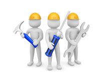 Three 3d man - people with the tools in the hands of. 3d image Royalty Free Stock Image
