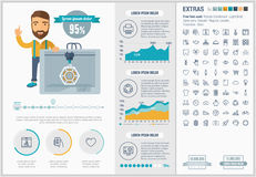 Three D printing flat design Infographic Template Stock Photography