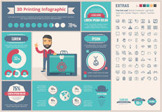 Three D printing flat design Infographic Template Stock Photos