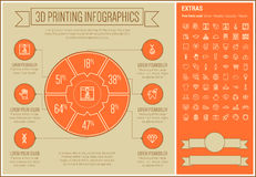 Three D Printing Line Design Infographic Template Stock Photos