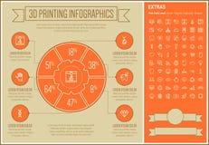 Three D Printing Line Design Infographic Template Stock Photos