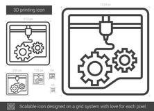 Three D printing line icon. Stock Photo