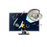 Three D TV sci-fi. Realistic TV drawing with action threeD sci-fi movie on it. Spaceship flying away from from enemy, while shooting laser cannons.Evil ship hit Stock Image