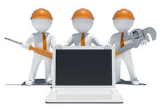 Three 3d white people with tools and laptop Royalty Free Stock Image