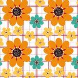 Three Daisies Seamless Pattern Stock Photography