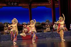 Three Dancer of Dance Drama Played in Dunhuang Grand Theatre, China stock image