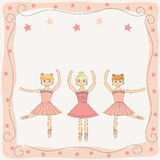 Three dancing cute ballerinas Royalty Free Stock Photos