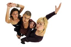 Three dancing friends Royalty Free Stock Image