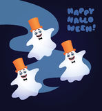 Three dancing ghosts. Vector cartoon illustration of three white ghosts with black bow ties and yellow top hats dancing. Greeting text 'Happy Halloween'. Dark Royalty Free Stock Photo