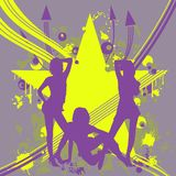 Three dancing girls. Vector Illustrate 8 EPS Stock Image