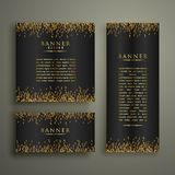 Three dark banners with glitter or sparkles. Illustration Royalty Free Stock Photo