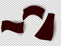 Smooth elegant Burgundy silk or satin texture, set of three folded different fabrics. Retro style EPS 10 stock illustration