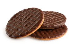 Free Three Dark Chocolate Coated Digestive Biscuits Isolated On White Stock Image - 165012501