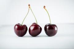 Three darkly cherries on the white table Stock Photo