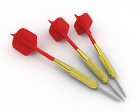 Three darts. Three 3D darts isolated on white Stock Images