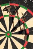 Three Darts. Professional dartboard and three steeldarts royalty free stock photo