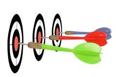 Three darts. Bullseye for three different darts Stock Photography