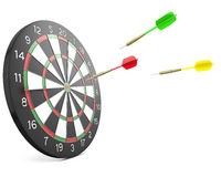 Three darts arrows flying into board stock illustration