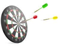 Three darts arrows flying into board Royalty Free Stock Image