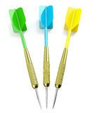 Three darts arrows, red, blue and yellow Stock Photos
