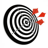 Three darts on bullseye Royalty Free Stock Photos